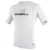 O'Neill Skins Short Sleeve Crew Mens Rash Guard, White-White-White, medium