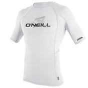 O'Neill Skins Short Sleeve Crew Mens Rash Guard, White-White-White, medium