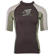 O'Neill Skins Short Sleeve Crew Mens Rash Guard, Graphite-Light Olive-Lunar, medium