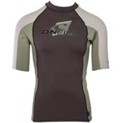 O'Neill Skins Short Sleeve Crew Mens Rash Guard, Graphite-Light Olive-Lunar, medium