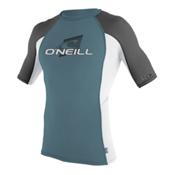 O'Neill Skins Short Sleeve Crew Mens Rash Guard, Dusty Blue-White-Graphite, medium