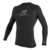 O'Neill Skins L/S Crew Mens Rash Guard, Black-Black-Black, medium