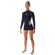 Roxy 1mm Booty Cut Long Sleeve Spring Womens Shorty Wetsuit 2014, Black-Black-Grey, medium
