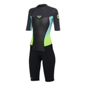 Roxy 2/2mm Syncro Short Sleeve Spring Womens Shorty Wetsuit 2014, Black-Green-Green, medium