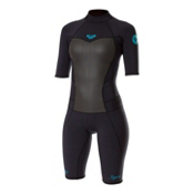 Roxy 2/2mm Syncro Short Sleeve Spring Womens Shorty Wetsuit 2014, Jet Black, medium