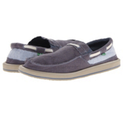 Sanuk Skip Jack Mens Shoes, Blue-Seersucker, medium