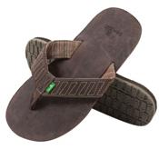 Sanuk Burro Down Mens Flip Flops, Brown, medium