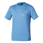 Quiksilver Flagship Short Sleeve Mens Rash Guard, Blue, medium
