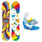 Burton Chicklet and Grom Kids Girls Snowboard and Binding Package, Y11-1, medium