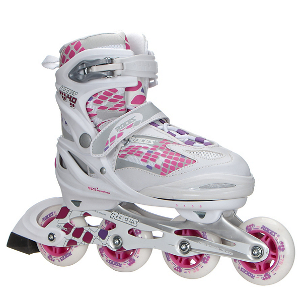 Roces Moody 4.0 Adjustable Girls Inline Skates, White-Pink, 600