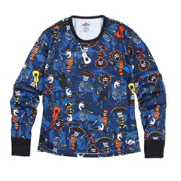 Hot Chillys Midweight Print Crewneck Kids Long Underwear Top, Mariachi-Navy, 256