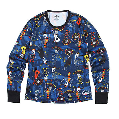 Hot Chillys Midweight Print Crewneck Kids Long Underwear Top, Mariachi-Navy, viewer