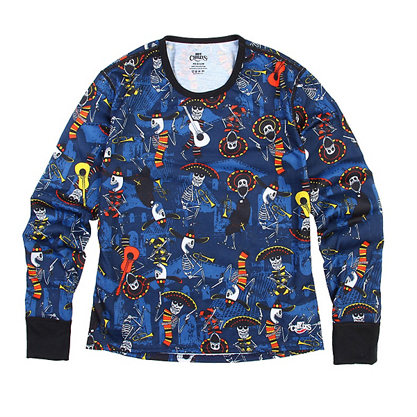 Hot Chillys Midweight Print Crewneck Kids Long Underwear Top, Mariachi-Navy, 600