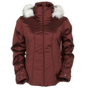 Nils Simona with Faux Fur Womens Insulated Ski Jacket, Red, medium
