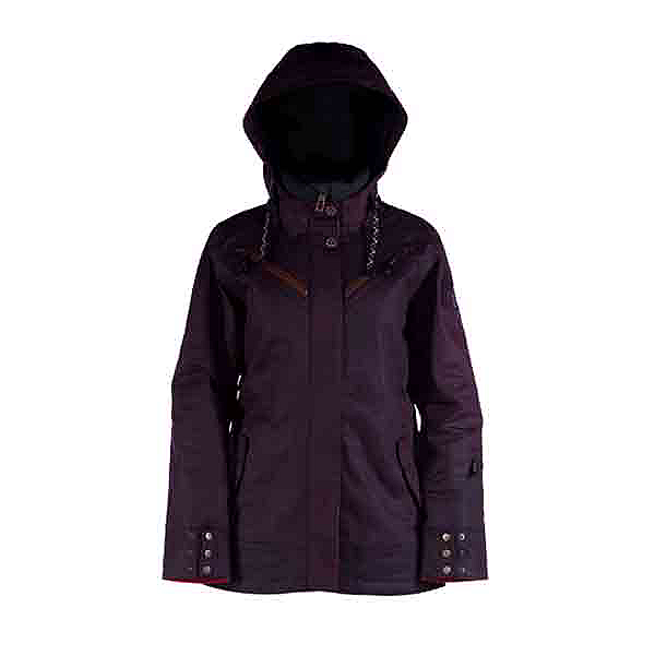 Cappel Cherry Bomb Womens Insulated Snowboard Jacket, Black Waxed Slub, 600