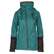 Cappel Heartbreak Womens Insulated Snowboard Jacket, Teal Smoke Chambray, medium