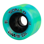 Riedell Sonar Swirlz Roller Skate Wheels - 4 Pack, Green-Blue, medium