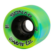 Riedell Sonar Swirlz Roller Skate Wheels - 4 Pack, Yellow-Blue, medium