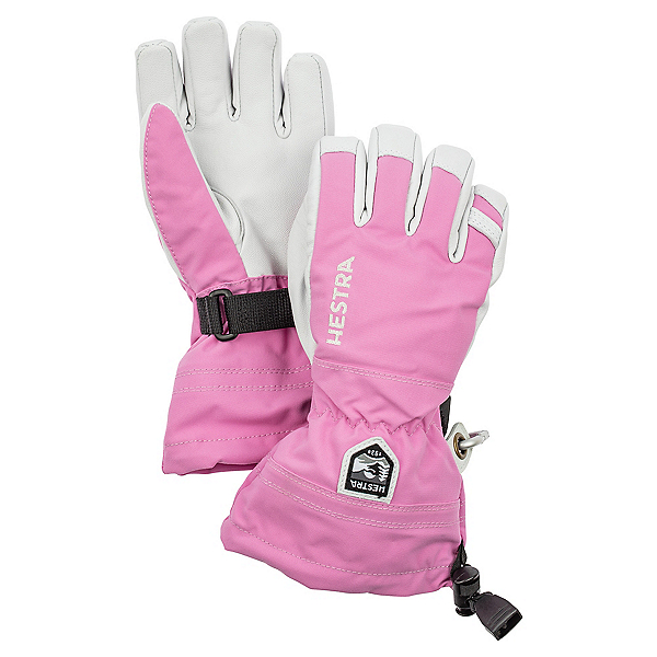 Hestra Heli Ski Jr Girls Kids Gloves, Pink, 600