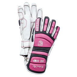 Hestra RSL Comp Vertical Cut Womens Ski Racing Gloves, White-Cerise, 256