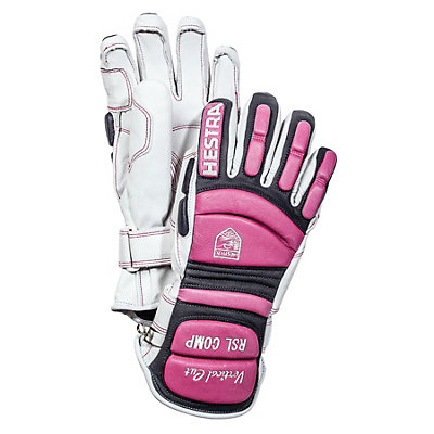 Hestra RSL Comp Vertical Cut Womens Ski Racing Gloves, White-Cerise, viewer