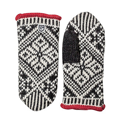 Hestra Nordic Wool Womens Mittens, Black-Off White, viewer