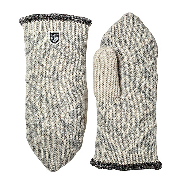 Hestra Nordic Wool Womens Mittens, Grey-Off White, 600