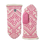 Hestra Nordic Wool Womens Mittens, Pink-Off White, medium