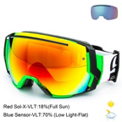 Smith I/O 7 Goggles, Neon Baron Von Fancy-Red Sol X + Bonus Lens, medium