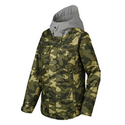 Oakley Charlie Womens Shell Snowboard Jacket, Olive Camo, 256