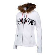 Spyder Core Soiree Hoody Faux Fur Womens Sweater, White, medium