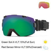 Smith I/OX Elite Turbo Fan Goggles 2015, Black-Green Sol X + Bonus Lens, medium
