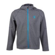 Spyder Core Upward Full Zip Midweight Mens Sweater, Graystone Melange-Electric Blu, medium
