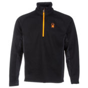 Spyder Core Outbound Half Zip Midweight Mens Sweater, Black-Black-Bryte Orange, medium