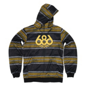 686 Airflight Advantage Bonded Mens Hoodie, Black Rugby Stripe, medium