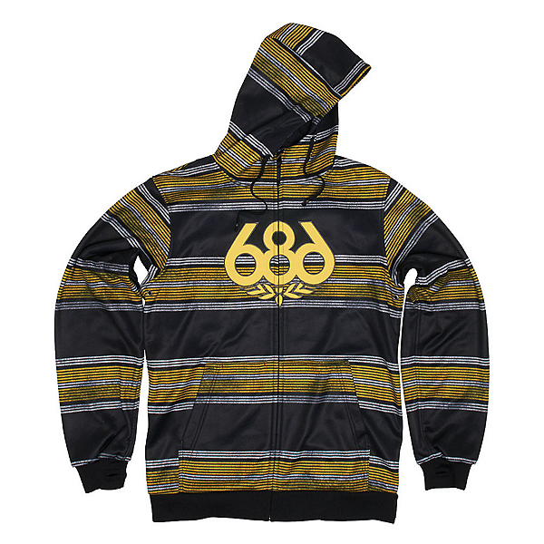 686 Airflight Advantage Bonded Mens Hoodie, Black Rugby Stripe, 600
