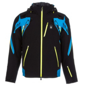 Spyder Pinnacle Mens Insulated Ski Jacket, Black-Electric Blue-Acid, medium