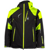 Spyder Leader Mens Insulated Ski Jacket, Black-Mantis Green-Bryte Green, medium