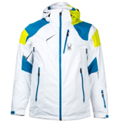 Spyder Leader Mens Insulated Ski Jacket, White-Electric Blue-Acid, medium