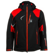 Spyder Leader Mens Insulated Ski Jacket, Black-Volcano-Black, medium