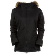 686 Authentic Aerial Womens Insulated Snowboard Jacket, Black Herringbone Denim, medium