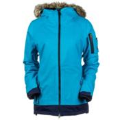 686 Authentic Aerial Womens Insulated Snowboard Jacket, Peacock Herringbone Denim, medium