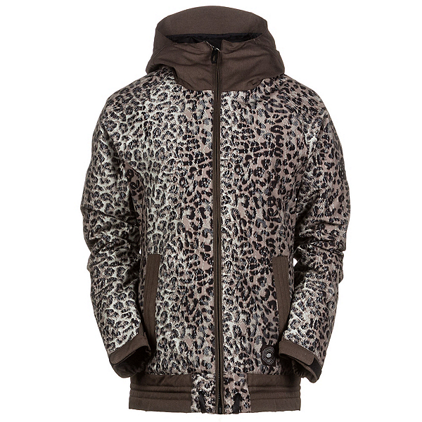 686 Authentic Lynx Womens Insulated Snowboard Jacket, Tobacco Leopard Lace, 600