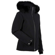 Nils Terri Real Fur Womens Insulated Ski Jacket, Black, medium