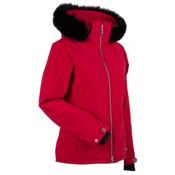 Nils Terri Real Fur Womens Insulated Ski Jacket, Red, medium
