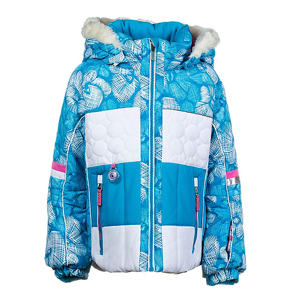 Obermeyer Lush Fur Toddler Girls Ski Jacket, Glacier Snowflower Print, 600