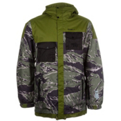 O'Neill Newschoolers Mens Insulated Snowboard Jacket, Green Aop, medium