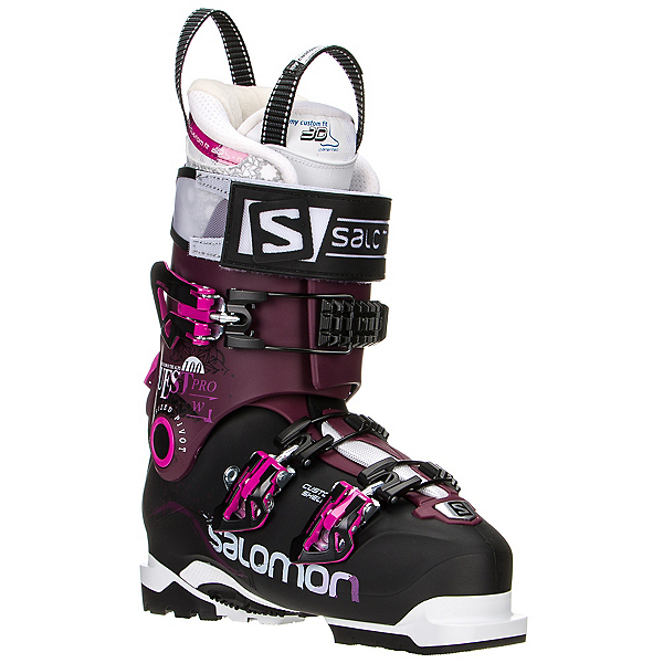 Salomon Quest Pro 100 W Womens Ski Boots, Black-Burgundy, 600