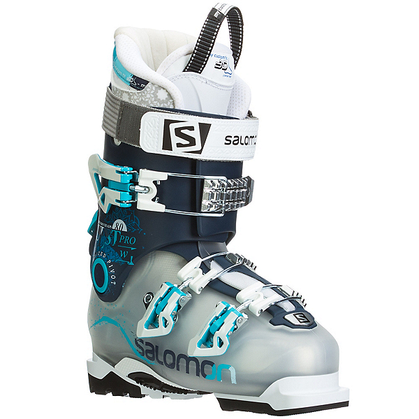 Salomon Quest Pro 80 W Womens Ski Boots, Crystal Translucent-Dark Blue, 600