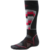 SmartWool PhD Medium Pattern Ski Socks, Black-Red, medium